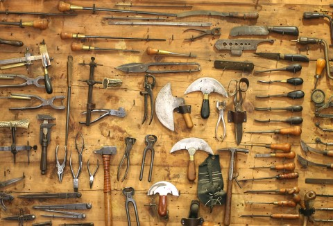 Old Tools In A Workshop